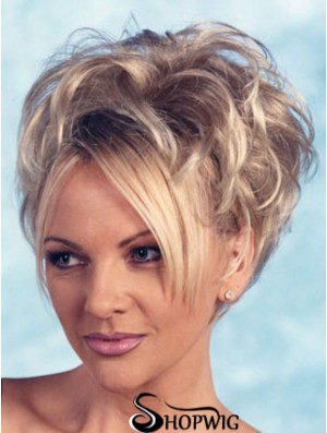 Curly Synthetic Blonde Short Fashion 3/4 Wigs