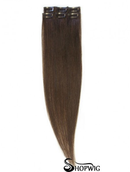 Popular Brown Straight Remy Human Hair Clip In Hair Extensions