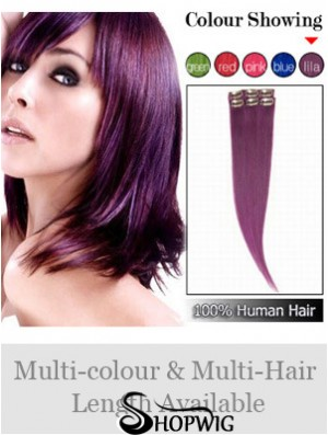 Convenient Black Straight Remy Human Hair Clip In Hair Extensions
