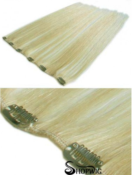Designed Blonde Straight Remy Human Hair Clip In Hair Extensions