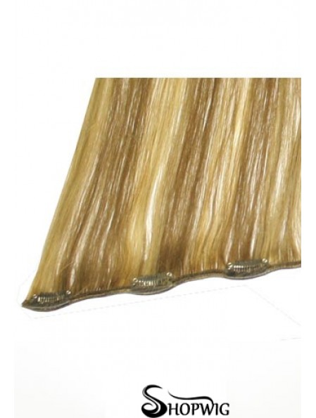 No-Fuss Blonde Straight Remy Human Hair Clip In Hair Extensions