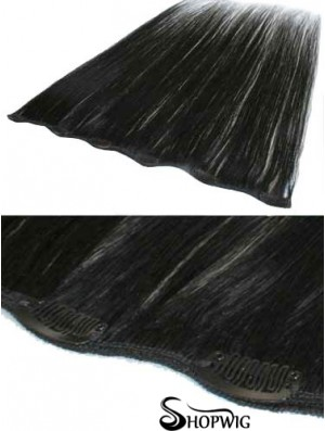 Popular Black Straight Remy Human Hair Clip In Hair Extensions