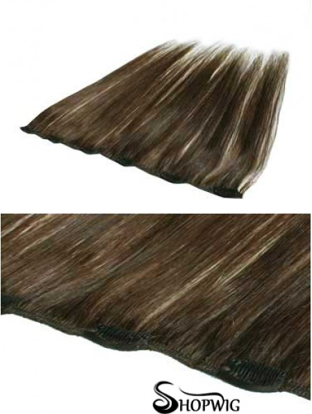 Convenient Brown Straight Remy Human Hair Clip In Hair Extensions
