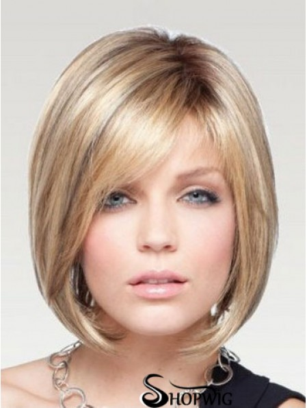 Bob Wigs Remy Human Chin Length Blonde Color Straight Style