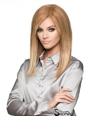 Blonde Suitable Straight Shoulder Length Remy Human Hair Bob Wigs