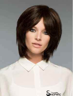 Brown Natural Straight Short Remy Human Hair Bob Wigs