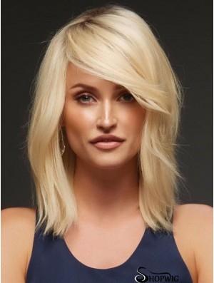 "Blonde Layered Wavy 14"" Buy Human Hair Wigs"
