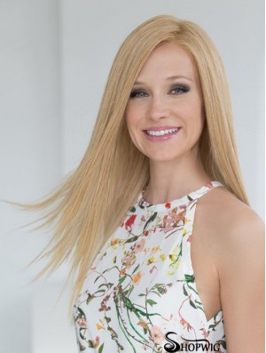 Durable Blonde Long Straight Without Bangs Human Hair Wigs