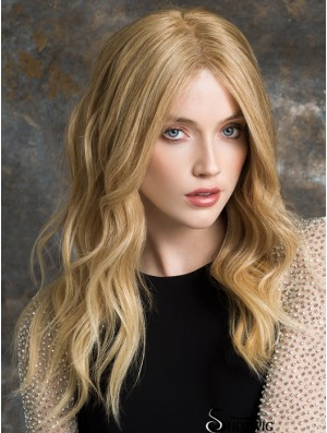 Long Lace Front Wigs 100% Hand Tied Blonde Color Wavy Style