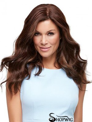 Human Hair Mono Top With Monofilament Long Length Wavy Style