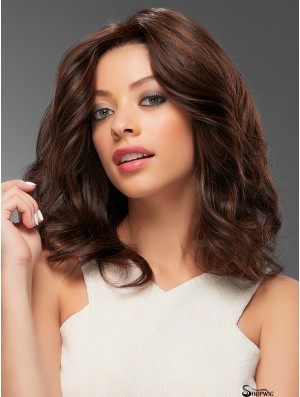 Brown Without Bangs Wavy 14 inch Real Human Hair Wigs