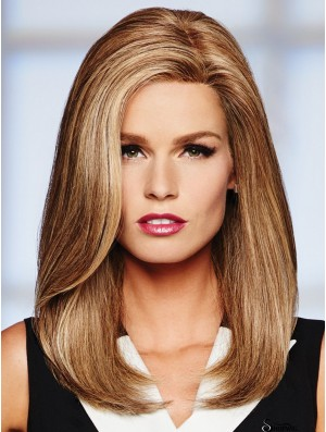 16 inch Long Monofilament Blonde Full Human Hair Wigs