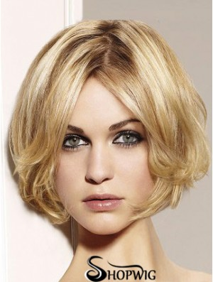 Blonde Bob Wig Remy Human Chin Length Lace Front Wavy Style