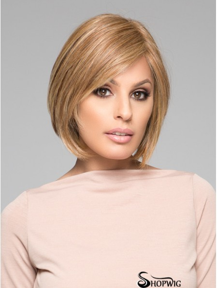 Bobs Wigs Straight Style Blonde Color 100% Hand Tied