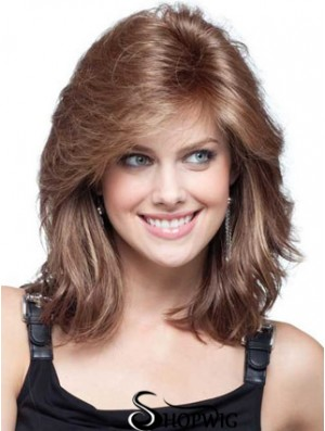 Front Lace Wigs UK Human Hair With Bangs Shoulder Length