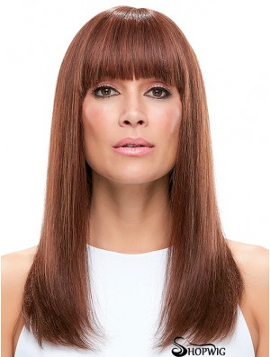 100% Hand Tied Auburn Long Straight With Bangs Wigs For Women