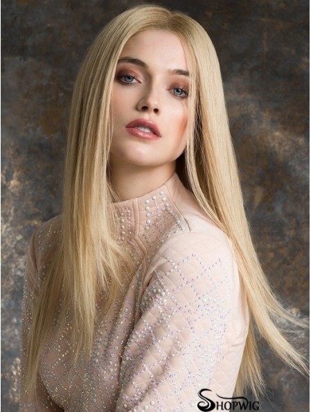 Monotop Real Hair Wigs Long Length Straight Style Blonde Color
