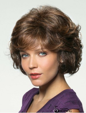 Wavy Brown Chin Length 10 inch With Bangs Handmade Wigs UK