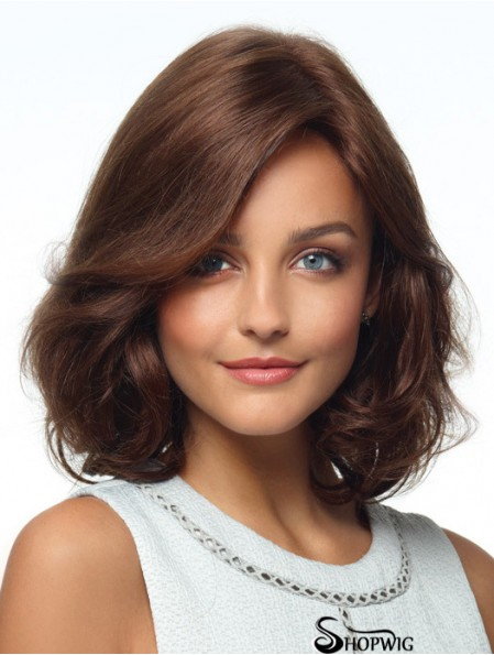 Curly Human Hair Wigs With Monofilament Layered Cut Brown Color