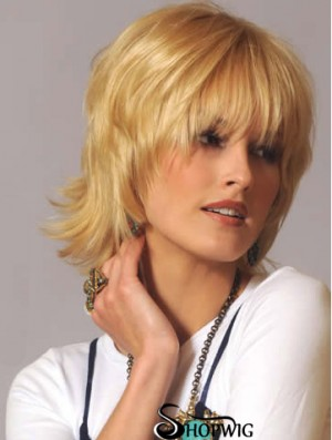 Human Hair Wavy Wigs Blonde Color Wavy Style With Capless