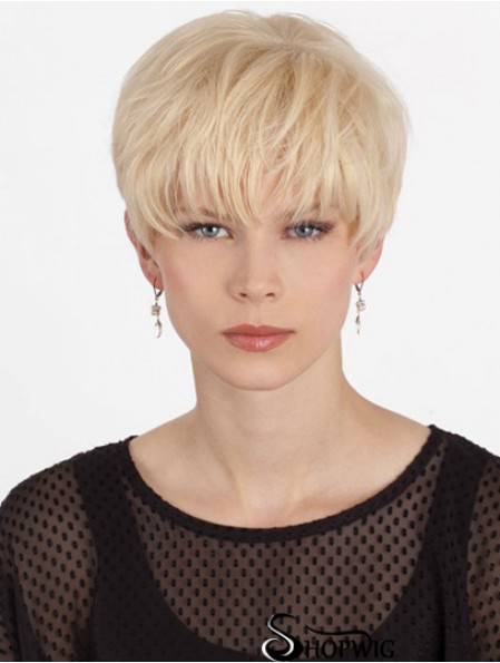 Human Hair Mono Topper With Monofilament Boycuts Short Length Straight Style