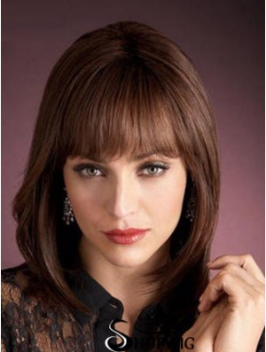 Light Auburn Human Wigs With Bangs Capless Straight Style Shoulder Length