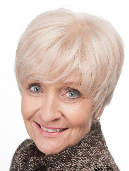 Short Hair Wigs For Older Women With Lace Front Grey Cut
