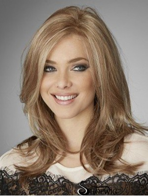 Blonde Mono Top Wigs Human Hair With Lace Front Long Length Wavy Style