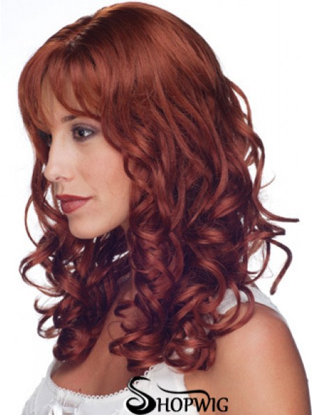 """16"""" Red Remy Human Curly Long With Bangs Monofilament Wig Sale UK"""