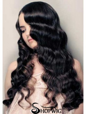 """20"""" Lace Front Long Black Curly Human Hair Wigs UK"""