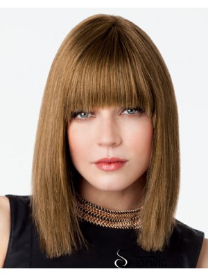 Bob Wig With Fringe Remy Human Lace Front Brown Color
