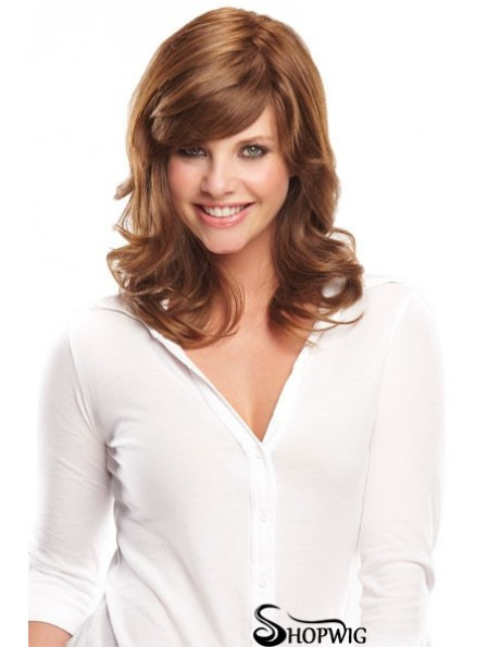 Cheap Monofilament Human Wigs UK With Bangs Brown Color