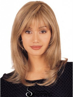 UK Lace Front Wigs Shoulder Length Blonde Color Straight Style
