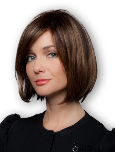 Brown Bob Wigs Remy Human Chin Length 100% Hand Tied Straight Style