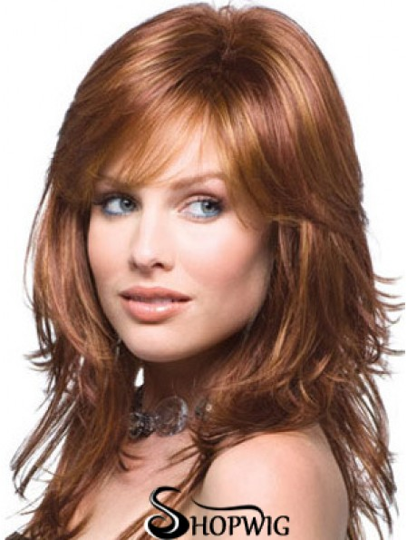 Layered Comfortable Wavy Auburn Long Synthetic Wigs