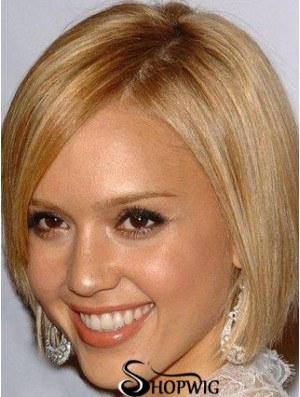 100% Hand Tied Chin Length Straight Monofilament Bob Wigs