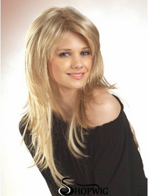 Blonde Long Straight Layered Lace Front Wig