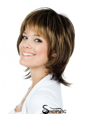 Natural 12 inch Brown Chin Length With Bangs Straight Lace Wigs
