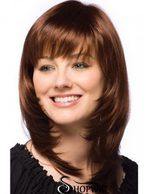 Synthetic Wigs Dark Auburn Layered Cut Straight Style Auburn Color