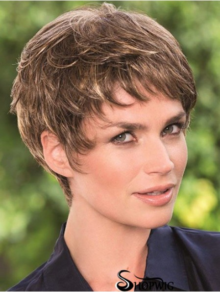 6 inch Brown Cropped Boycuts Wavy Top Lace Wigs