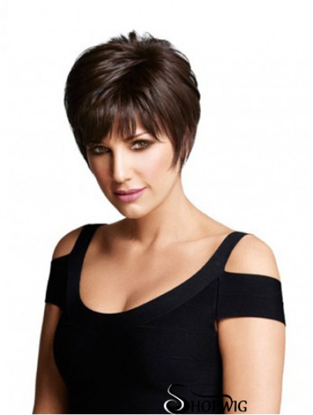 Monofilament Human Hair Wigs UK Layered Cut Short Length Straight Style