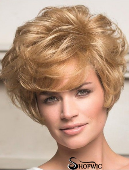 Human Hair Front Lace Wigs Short Length Wavy Style Layered Cut