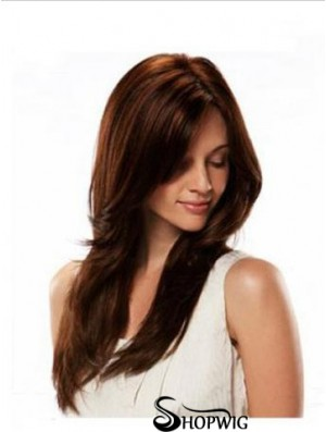 Monofilament Wig Human Hair Auburn Color Straight Style Long Length