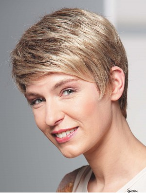 Human Hair Wigs Blonde Full Wig Boycuts Cropped Length Wavy Style