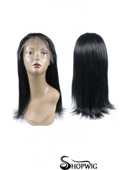 Black Full Lace Straight Long Hand Tied Human Hair Wigs