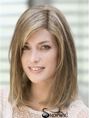 Amazing 14 inch Brown Shoulder Length With Bangs Straight Lace Wigs