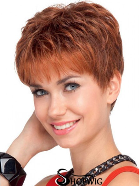 Soft 4 inch Red Cropped Boycuts Wavy Lace Wigs