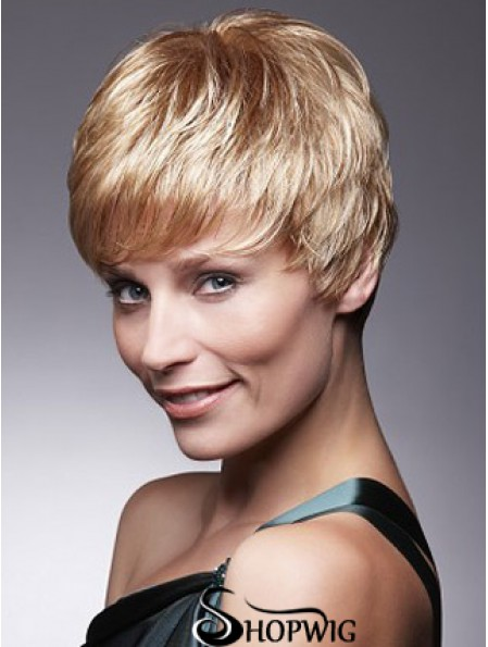 Short Blonde Wig With Capless Remy Cropped Length Boycuts