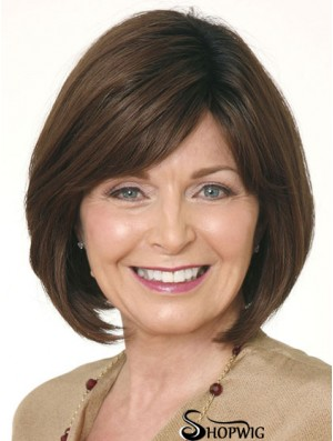 Wigs Bob With Lace Front Straight Style Brown Color