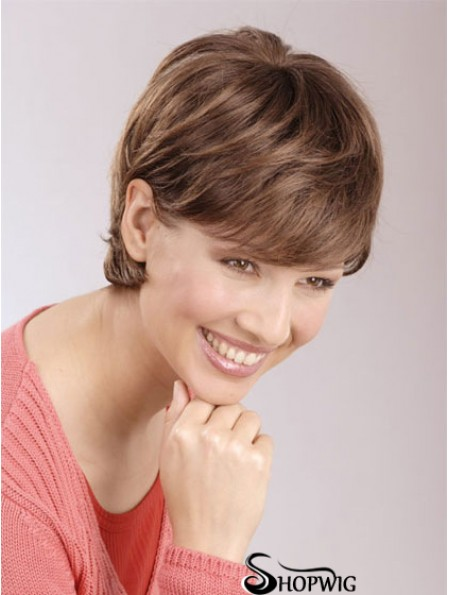 Discount 6 inch Auburn Cropped Boycuts Straight Lace Wigs